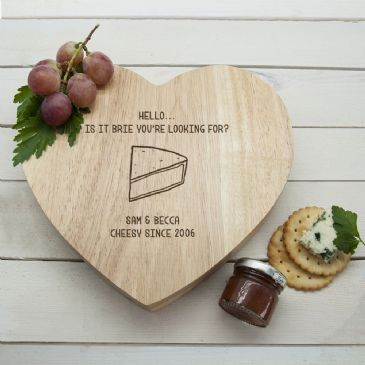 Is It Brie You're Looking For?' Romantic Heart Cheese Board